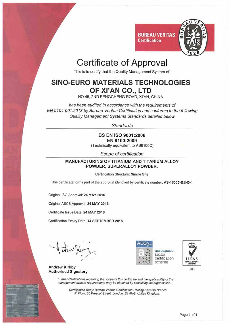 Sino-Euro Materials receives aerospace certification for its PREP metal powders